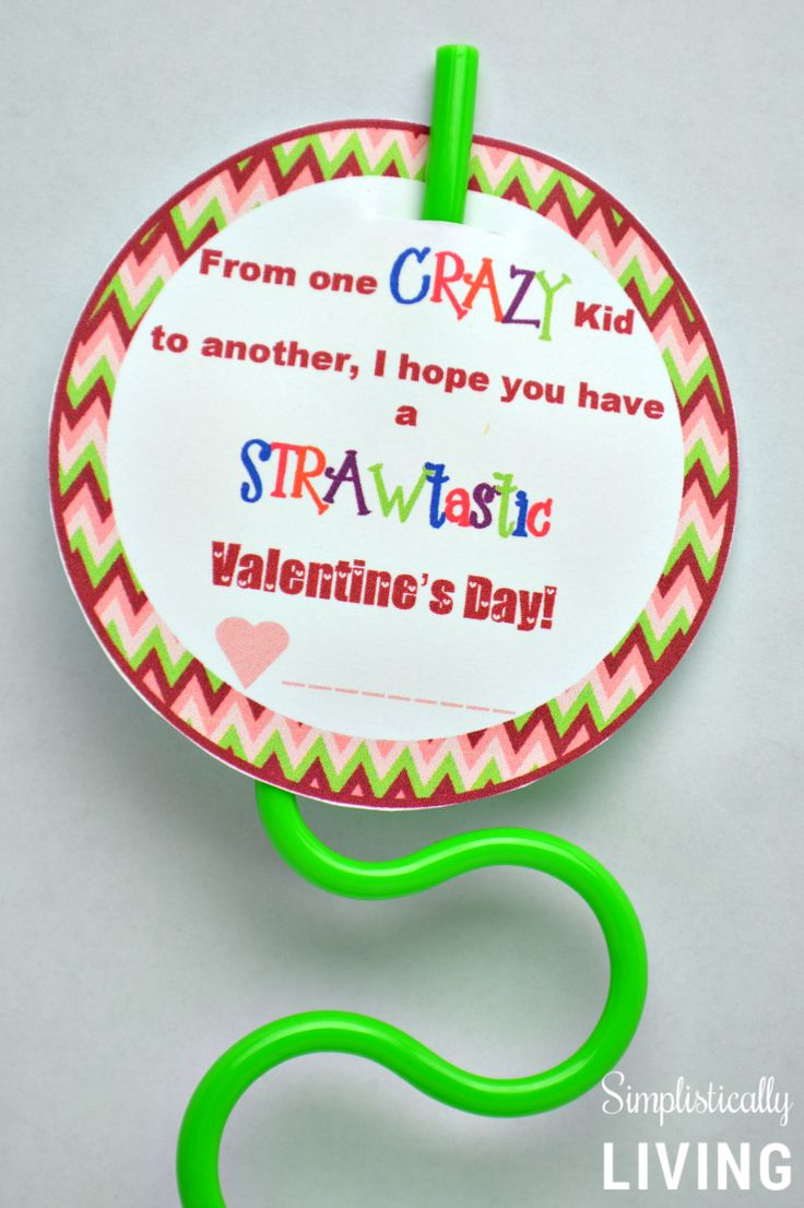 Crazy Straw Valentines Free Printable Language