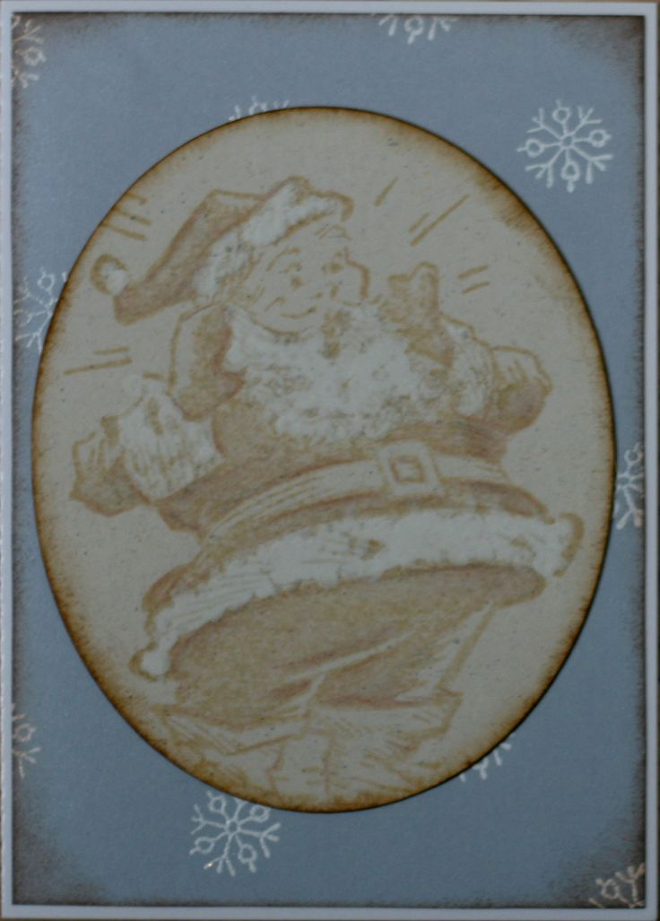 My favourite!!  Santa: Stampers Anonymous Christmas memories CMS118, distress ink (antique linen), pencils (derwent colorsoft) Used cotton swab to cover beard & 'fur' with white pigment ink (colorbox), than I added clear embossing powder. Gives a very special touch!