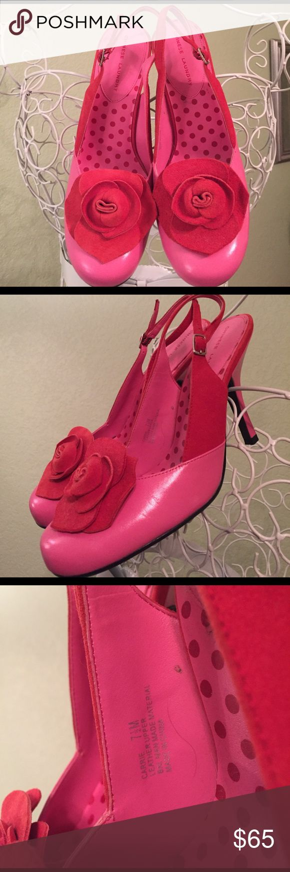ROSE Sling Pumps - MUST HAVE Supercute slingpumps, size 7,5, red & pink, leather upper, worn ince, no major flaws (see spot on heel in first pic) , only being in closet, please ask if you need more infos/pics before buying to avoid problems!😀 Chinese Laundry Shoes Heels
