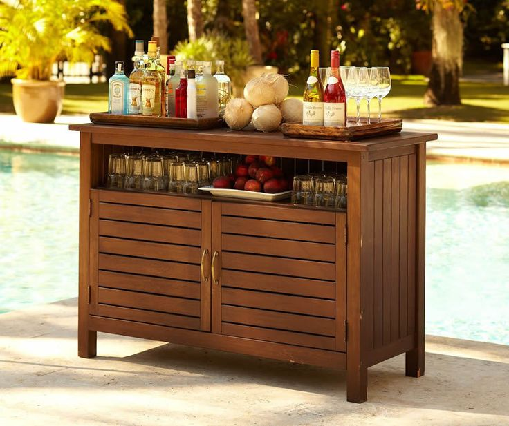 Sideboards, Patio Buffet Cabinet Outdoor Buffet Server Sideboard Sturdy  Wooden Buffet Table With Long Open