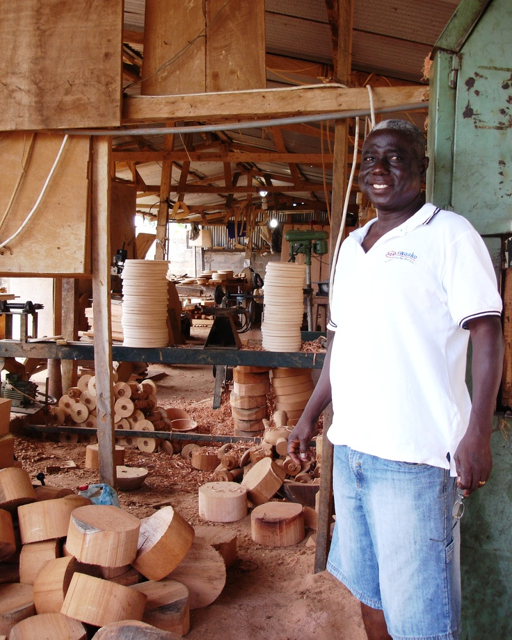 Visiting Tekura Woodworks, Ghana - Kweku Forson in his workshop photo Cathy O'Clery