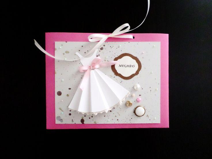 DIY, invitation, card, pearl, something, new, old, pink, white, bachelorette, heart, the day, wedding, meghívó, lánybúcsú, gyöngy, esküvő