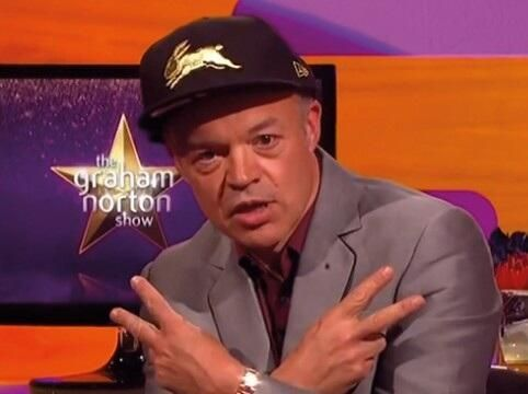 Graham Norton rocking the Rabbitohs flat brim