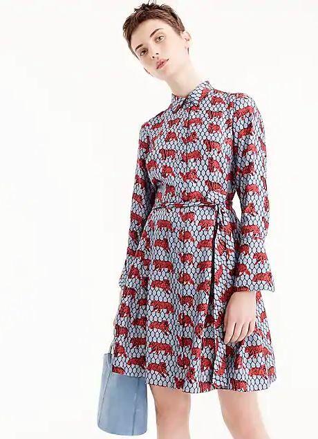 1e4e3c94f0d078 JCREW Collection silk twill shirtdress in roaming tiger print 07/02018