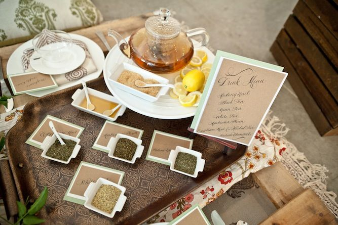 A tea bar! Unique Yoga Zen Bridal Shoot & Bachelorette Ideas http://su.pr/2bpXLk