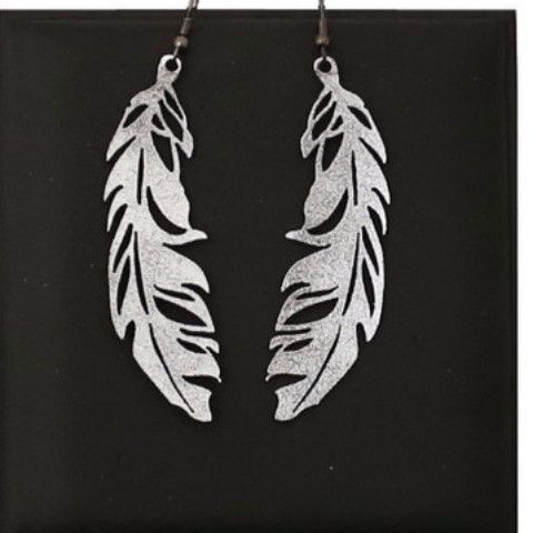Doury Feather Earrings Small - silver