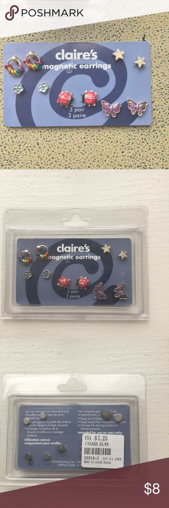 Vintage Claire's Magnetic Earrings Set Of 5 Lady Bug Butterfly Star Flower  Ring 3 Of The