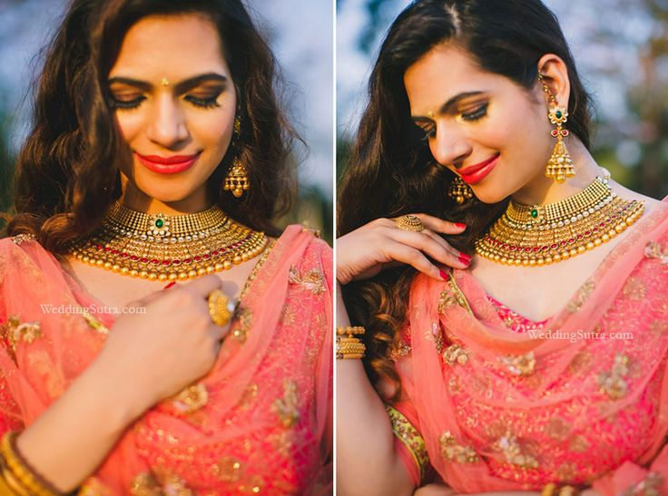 A gold choker and jhumas with floral motifs and regal beads by Tanishq at WeddingSutra Bridal Diaries.  Photos Courtesy - Shreya Sen Photography