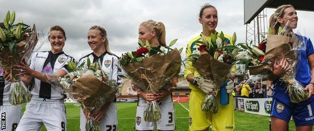 Ellen White (left), Laura Bassett, Alex Greenwood, Siobhan Chamberlain and Carly Telford (right)