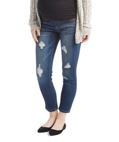 This Bella Vida Dark Blue Distressed Maternity Skinny Jeans is perfect! #zulilyfinds