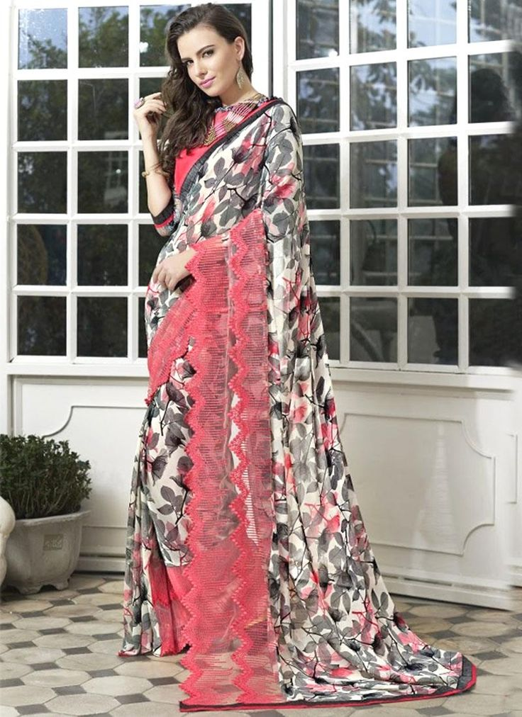 Buy casual & printed sarees online available. Grab this distinctive print work printed saree for casual and party.