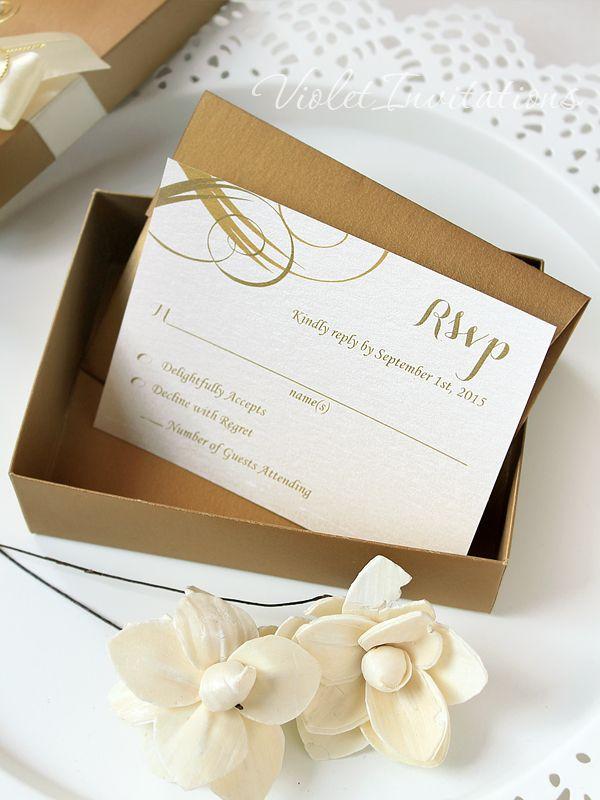 creative wedding response cards%0A Gold Ivory Box Wedding Invitation Scroll and Response Card  Handmade Unique  Boxed Invitation   RSVP  SAMPLE Gold Scroll Invitation Set