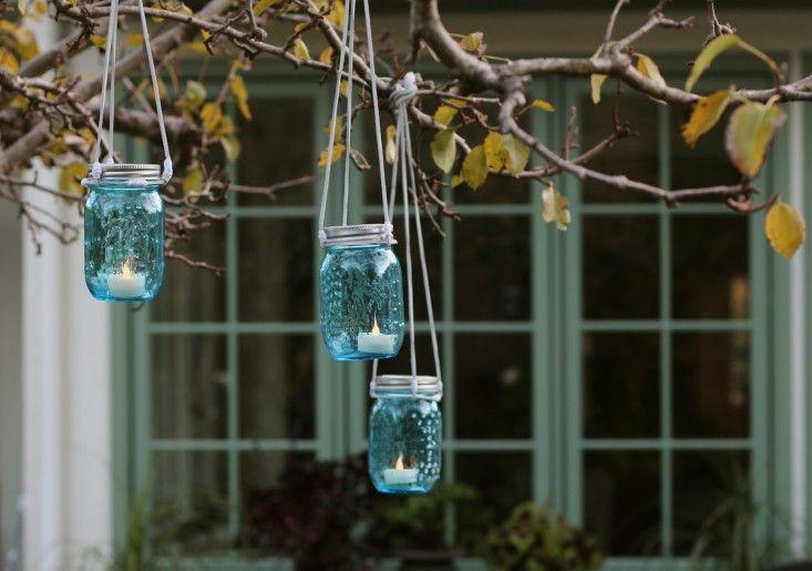 DIY blue glass hanging lanterns Darby Smart l Gardenista