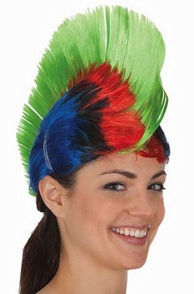 Multi Color Mohawk Hair Wig Punk Rocker Hairstyle Halloween Cosplay Rock Green #JHats #MulticolorMohawkWig