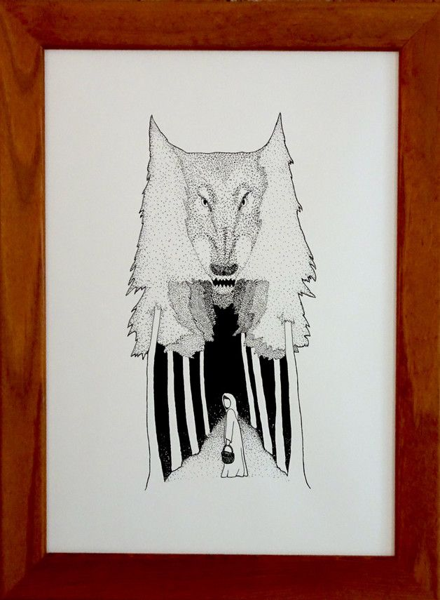 illustration wolf red riding hood ink drawing india ink pen drawing figure painting sketch linework dotwork forest rotkäppchen wolf zeihnung druck print tusche feder forest wald