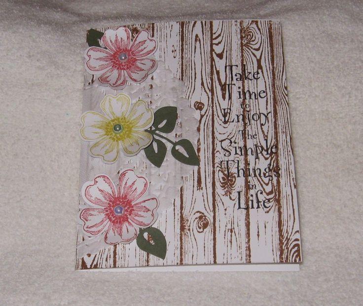 Stampin Up! Flower Shop stamp set & punch & Hardwood Background stamp