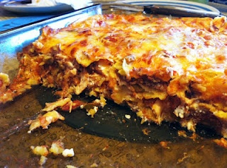 My Chicken Enchilada Casserole: only 380 calories for 1/8 of a 10x13 pan!Layered, Cups Cottages, 380 Calories, 10X13 Pan, Casseroles 380, Chicken Enchiladas, Cottages Cheese, Enchilada Casserole, Enchiladas Casseroles