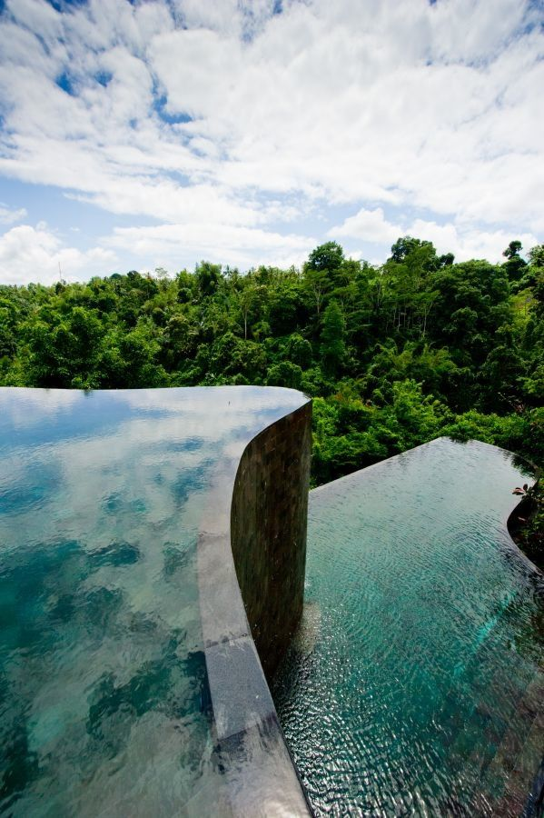 Hanging infinity pools in the Ubud Hanging Gardens, Bali,Indonesia: