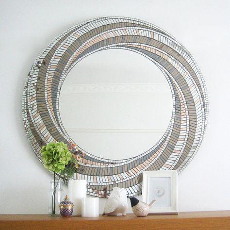 Bronce de arte espejo espejo de mosaico Art Deco por MirrorEnvy