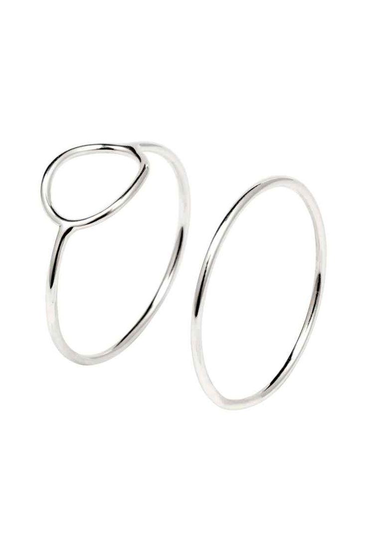 Anelli placcati argento, 2 pz: Anelli sottili in metallo placcato argento.