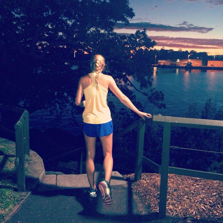 Run fit. 5am rise - 11km fast run around Sydney harbour. Epic sunrise.