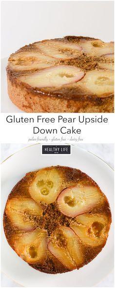 Gluten Free Pear Upside Down Cake is a beautiful, dense, moist, nutty ...