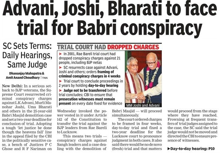 The Supreme Court has decided that top BJP leaders L K Advani, Murali Manohar Joshi and Uma Bharti among others will face the criminal charges in 1992 Babri mosque demolition case.