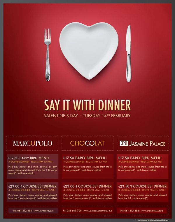 Restaurant Print Advertisement Valentine's Day by Loïc Seigland, via Behance