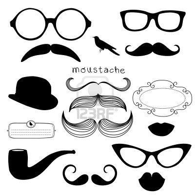 Conjunto Retro Party - Gafas de sol, los labios, el bigote Foto de archivo