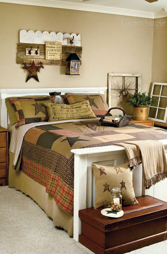 Prim Country I love the shelf #PrimitiveBedroom | Primitive Bedroom ...