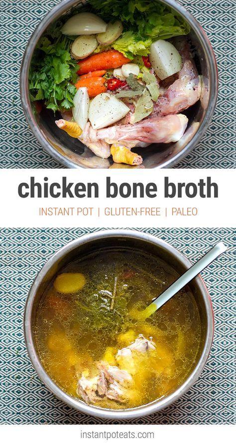 Chicken Bone Broth - Instant Pot Pressure Cooker (Paleo, Gluten-Free)