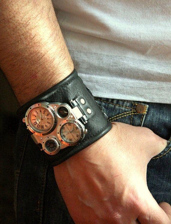 Men's Wrist watch Pathfinder leather bracelet. Dope design but needs different band.