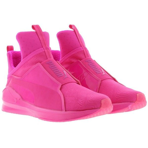 Puma Fierce Bright Sneakers (£53) ❤ liked on Polyvore featuring shoes, sneakers, pink, bright sneakers, bright colored sneakers, puma sneakers, bright pink sneakers and puma shoes