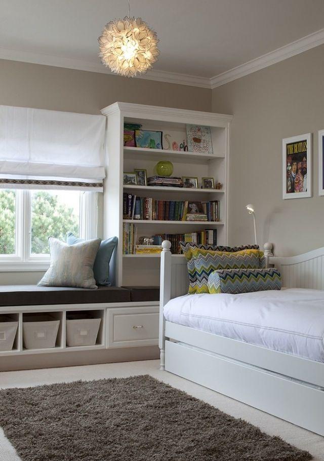 Kids Room more storage on shelves on side of window seat