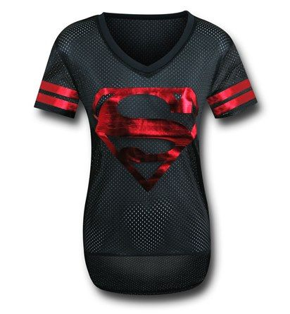 Behold the mighty 100% polyester Superman Black Hockey Women's T-Shirt! Created in a jersey style (AKA speed holes), the Superman Black Hockey Women's T-Shirt has a shiny red metallic print on both the front and back. What exactly does that mean? It means you can go to sports-like activities and almost blend in. I did say -almost-, right? Fitted and airy, the Superman Black Hockey Women's T-Shirt is what you need! <br />