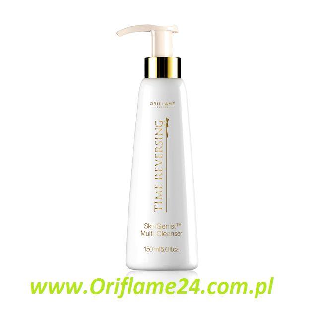 Time Reversing SkinGenist™ Multi-Cleanser - Mleczko oczyszczające Time Reversing SkinGenist™ Oriflame. Wyśmienicie odświeża skórę, która po oczyszczeniu mleczkiem zyskuje perfekcyjną gładkość, miękkość i promienny wygląd. Połączenie genisteinSOY ze składnikami odżywczymi i nawilżającymi zapewnia silne działanie odmładzające. Rozprowadź mleczko wacikiem kosmetycznym, by oczyścić skórę i przygotować ją na przyjęcie kremów na dzień lub na noc Time Reversing SkinGenist™.