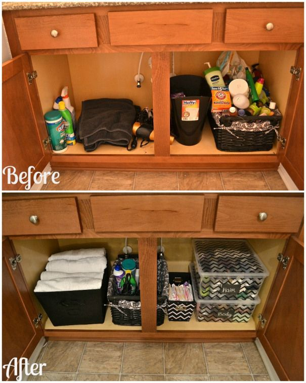before and after bathroom cabinet organization... like this for under the sink storage