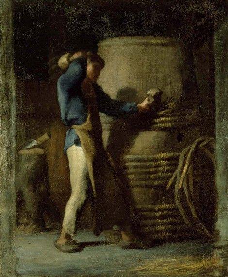 Jean-Francois Millet, Cooper Tightening Staves on a Barrel about 1848–52 on ArtStack #jean-francois-millet #art