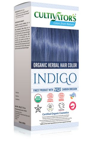 Organic Herbal Hair Color - Indigo Natural hair dye with 100% organic and chemical free ingredients for natural and healthy hair, color with care.