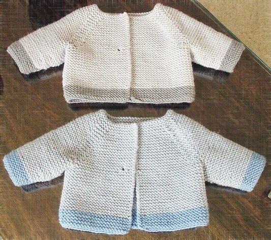 MillaMia Modern Knitting Design | Garter Stitch Cardigan pattern | Debbie Bliss | Contrast color edge