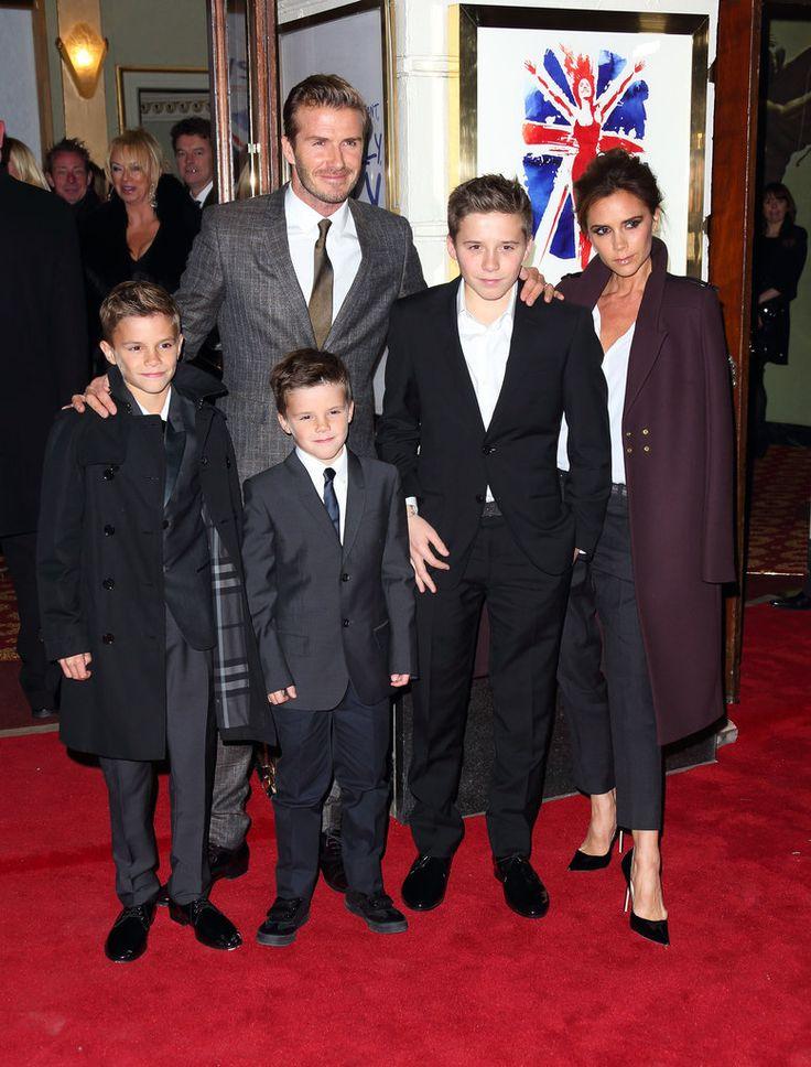 Victoria Beckham (wearing her own label), David Beckham, Romeo Beckham, Brooklyn Beckham, and Cruz Beckham (all wearing Burberry) at the Viva Forever press night in London.