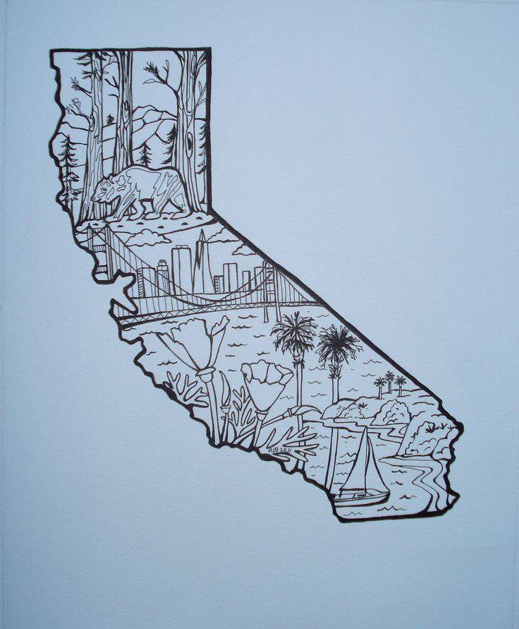 california state outline tattoo