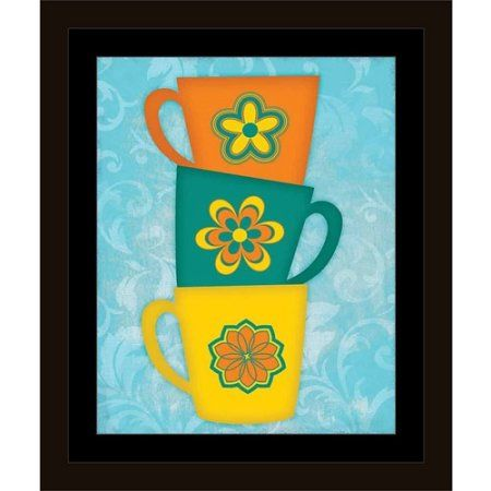 Bright Coffee Cup Stack Kitchen Painting Blue, Framed Canvas Art by Pied Piper Creative, Size: 8 x 10, Brown