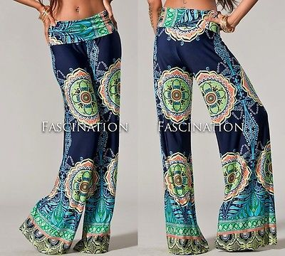 Foldover Navy Blue Hippie 70s Tribal Wide Leg Tall Yoga Pants Palazzo s M L | eBay