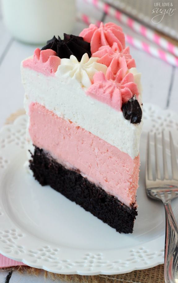 Neapolitan Millionaire Cake - vanilla bean mousse, strawberry cheesecake, chocolate cake! So good!