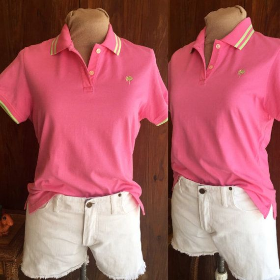Vintage Real Lilly Pulitzer Pink Polo Shirt With Green Trim, Size Medium