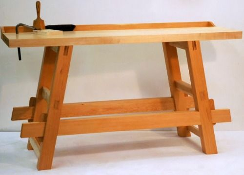 grahamforster:  Knock-down workbench, inspired by Will Myers. Douglas fir and maple, with details in black walnut and red oak.  I like! Very clean and functional too…