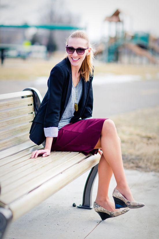 Pencil Skirt + Tshirt + Blazer