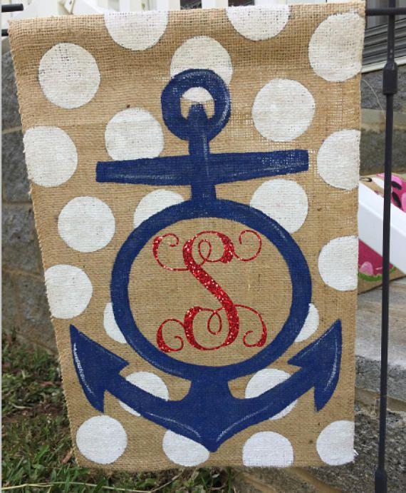 Hand Painted Burlap Monogrammed Anchor Garden Flag