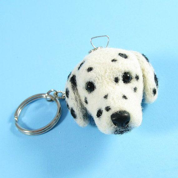 Dalmatian  Needle Felted Keychain by KaysK9s on Etsy
